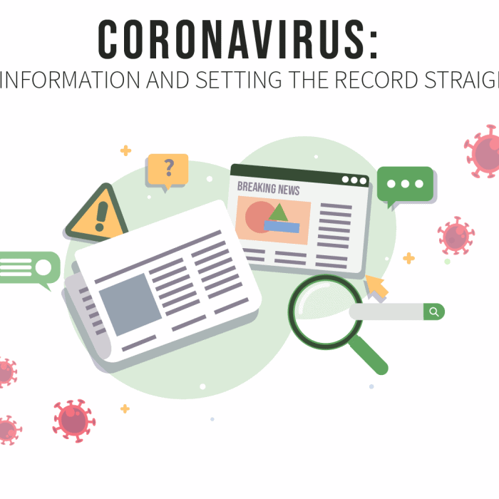 Coronavirus: Misinformation and setting the record straight